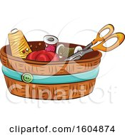 Clipart Of A Sewing Kit Royalty Free Vector Illustration