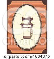 Clipart Of A Vintage Sewing Machine In A Frame Royalty Free Vector Illustration
