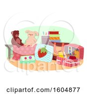 Clipart Of A Hand Made Sewn Tows And Notions Royalty Free Vector Illustration