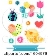 Poster, Art Print Of Patch Flowers Bird Ladybug And Design Elements