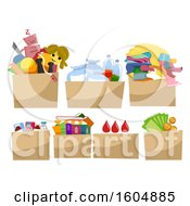 Clipart Of Donation Boxes Royalty Free Vector Illustration