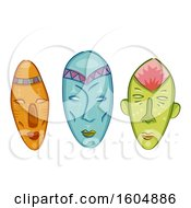 Clipart Of Colorful African Masks Royalty Free Vector Illustration