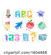 Clipart Of Pixel Art Educational Designs Royalty Free Vector Illustration