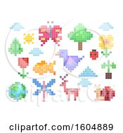 Clipart Of Pixel Art Nature Elements And Animals Royalty Free Vector Illustration