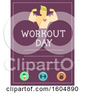 Clipart Of A Flexing Bodybuilder On A Workout Day Sheet Royalty Free Vector Illustration