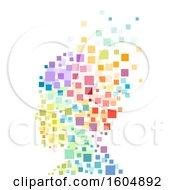 Pixel Art Silhouetted Person With Colorful Floating Squares