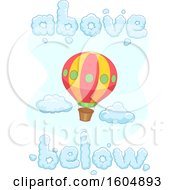 Hot Air Balloon With Above And Below Shaped Word Clouds