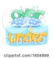 Clipart Of A Floatie With Over And Under Water Text Royalty Free Vector Illustration