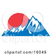 Red Sunset Over Snow Capped Mountains Clipart Illustration