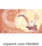 Poster, Art Print Of Excavator Digging The Alphabet Out From The Soil