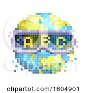 Pixel Art Earth Wearing Alphabet Goggles On A White Background