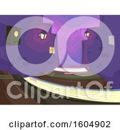 Clipart Of A Drak Alley Formed Of Books Royalty Free Vector Illustration