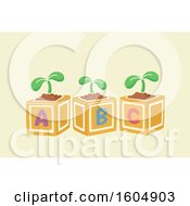 Clipart Of Alphabet Toy Blocks With Seedling Plants Royalty Free Vector Illustration