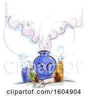 Clipart Of A Skull Poison Or Potion Bottle With Smoke Royalty Free Vector Illustration