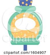 Clipart Of A Gold And Green Potion Bottle Royalty Free Vector Illustration
