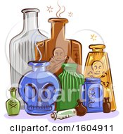 Clipart Of Antique Poison Bottles Royalty Free Vector Illustration
