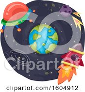 Clipart Of A Ufo Comet And Rocket Around Planet Earth Royalty Free Vector Illustration