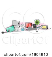 Clipart Of Home Appliances Behind An Electrical Plug Royalty Free Vector Illustration