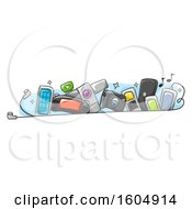 Clipart Of Electronic Gadgets Behind Earplugs Royalty Free Vector Illustration