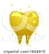 Clipart Of A Sparkly Gold Tooth Royalty Free Vector Illustration