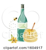 Clipart Of A Bee And Sunflower By A Bottle And Honey Jar Royalty Free Vector Illustration