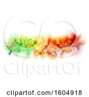 Clipart Of A Design With Colorful Autumn Leaves And Flares On A White Background Royalty Free Vector Illustration