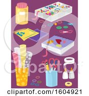 Clipart Of Craft Supplies On Purple Royalty Free Vector Illustration