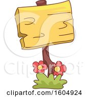 Clipart Of A Wood Garden Sign With Flowers Royalty Free Vector Illustration