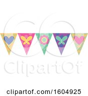 Clipart Of A Flower Heart And Butterfly Party Banner Royalty Free Vector Illustration