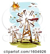 Clipart Of A Windmill Farm On A Sunny Day Royalty Free Vector Illustration