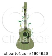 Clipart Of A Green Guitar With Vines Royalty Free Vector Illustration