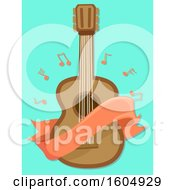 Clipart Of A Blank Banner And Music Notes Around A Guitar Royalty Free Vector Illustration