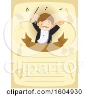 Clipart Of A Male Music Conductor With Music Notes On A Page Royalty Free Vector Illustration