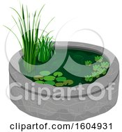 Clipart Of A Garden Pod With Plants Royalty Free Vector Illustration