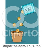 Poster, Art Print Of Seed Packet Pouring Gold Coins In A Pot