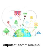 Clipart Of A Pixel Art Earth With Nature Elements Royalty Free Vector Illustration