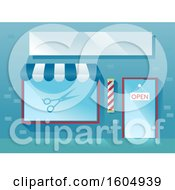 Clipart Of A Facade Of A Barber Shop With Scissors And An Open Sign At The Door Royalty Free Vector Illustration