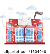 Clipart Of A Post Office Building With A Slot And Flag Up Resembling A Mailbox Royalty Free Vector Illustration