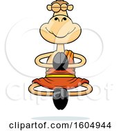 Clipart Of A Cartoon Meditating Zen Camel Royalty Free Vector Illustration