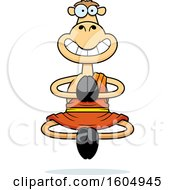 Clipart Of A Cartoon Meditating And Grinning Zen Camel Royalty Free Vector Illustration
