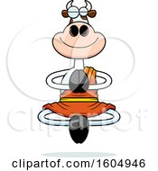 Clipart Of A Cartoon Meditating Zen Cow Royalty Free Vector Illustration