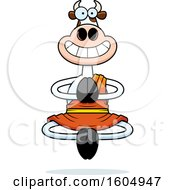 Clipart Of A Cartoon Meditating And Grinning Zen Cow Royalty Free Vector Illustration