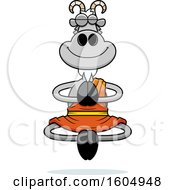 Clipart Of A Cartoon Meditating Zen Goat Royalty Free Vector Illustration