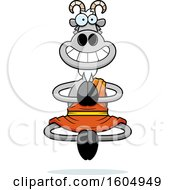 Clipart Of A Cartoon Meditating And Grinning Zen Goat Royalty Free Vector Illustration
