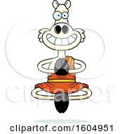 Clipart Of A Cartoon Meditating And Grinning Zen Llama Royalty Free Vector Illustration by Cory Thoman