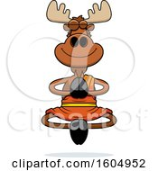Clipart Of A Cartoon Meditating Zen Moose Royalty Free Vector Illustration