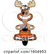 Clipart Of A Cartoon Meditating And Grinning Zen Moose Royalty Free Vector Illustration