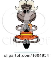 Clipart Of A Cartoon Meditating Zen Ox Royalty Free Vector Illustration