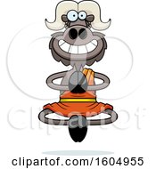 Clipart Of A Cartoon Meditating And Grinning Zen Ox Royalty Free Vector Illustration
