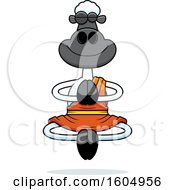 Clipart Of A Cartoon Meditating Zen Sheep Royalty Free Vector Illustration